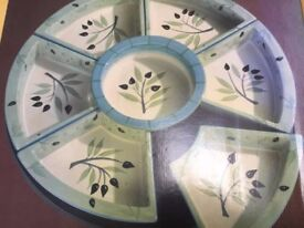 LAZY SUSAN BY SIGNATURE (COSTCO) HAND PAINTED CERAMIC SERVERS