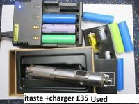 ecig itaste svd and some 18650 batteries + nitecore charger . Most of the bats work fine