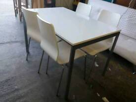Modern white Dining table and 4 chairs