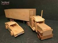 Handmade wooden vehicles