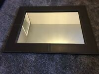 Large Faux Leather Mirror