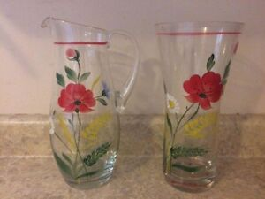 Hand Painted Glass Pair