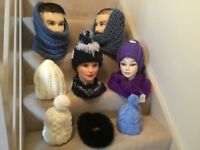 Adults and Children's woolly hand knitted hats and snoods