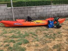 Ocean kayak prowler13 with paddle, backrest, buoyancy jacket and trolley