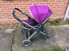 Oyster 2 pushchair with chrome chassis and purple colour pack