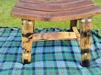 Oak whisky barrel benches