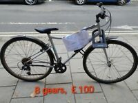 Excellent condition 28'' bike, 8 speed gears, with light, lock, non-'quick release' wheels & seat