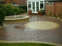 Flagging, fencing, block paving, turfing, decking