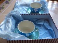 Whittard Hand Painted Cup & Saucers X 2
