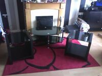 For sale glass coffee table and two cube sidetables