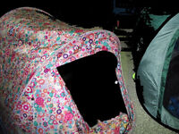 Retro 70s Floral Pop Up Tent with matching kit including Sleeping Bag & 2 Stools