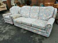Patterned fabric 3 seater sofa with matching armchair