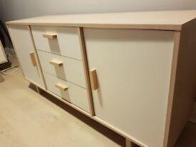 Homebase White & Oak Effect Sideboard & Matching TV Unit