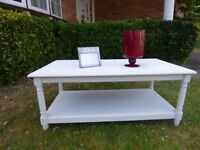 Low level Solid Pine Coffee table - Painted beige