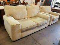 Cream fabric 2 seater sofa with armchair