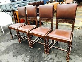 Set of 4 Beautiful Antique Oak & Leather Chairs