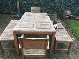 GARDEN TABLE, 2 CHAIRS, 2 BENCHES