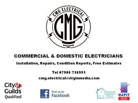 CMG Electrical, commercial and domestic electricians including third party certification.