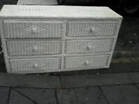 White wicker wide drawers