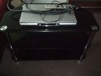 Toughened Glass TV Stand & Panasonic DVD Recorder