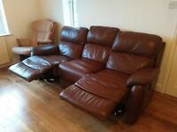 DFS 3 seater sofa - genuine leather - brown - 2 recliners - good condition throughout