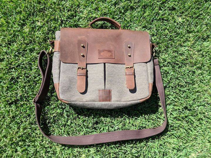 827077074825 Leather and Canvas Mens Satchel Messenger Bag