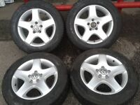 """GENUINE VW T5 T6 17"""" LOAD RATED ALLOYS & 225/60/17 M+S WINTER TYRES 5X120PCD"""