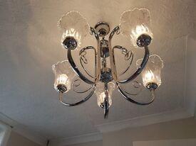 Light fitting - 5 bulb chrome/glass