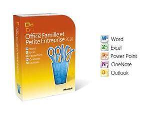 License originale francais Microsoft Office Famille  et Petite Entreprise 2010. Neuve jamais activee. Word, Excel, Powe