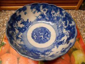 Meiji Period Japan Arita Imari Karako Blue White Porcelain Bowl