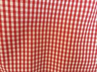 Pair Red Gingham Check Curtains with tie backs (Bay Window)