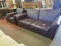 Large brown leather 2 seater with matching armchair and pouffe