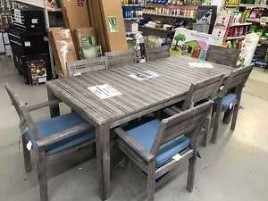 HAMPTON 9 PIECE GREY TIMBER SETTING RRP $899 Broadbeach Gold Coast City Preview