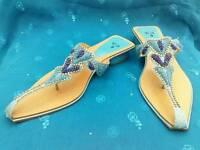 Ladies blue sandals heels footwear