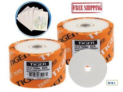 100-PK 52X Tiger White Inkjet Hub Printable Blank CD-R Disc + 100 Paper Sleeves ()