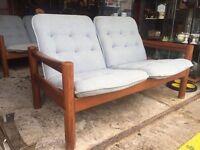 Mid Century Danish Teak Sofa by Domino Mobler - Retro and Vintage