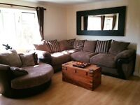 Brown (dfs) corner sofa with scattered cushions, only 2 years old.