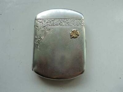 1942 Antique Vintage Art Deco Silver 800 & Gold Cigarette Case Box Poland