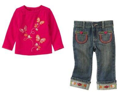 Gymboree Butterfly Girl Pink Flower Tee Shirt Top Jeans Set Girls 4T 5T NEW NWT  Butterfly Tee-set