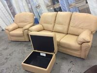 Beige leather sofa, chair and storage footstool