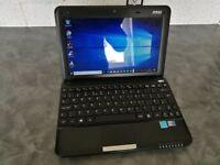 """Black MSI 10"""" Netbook 250Gb HDD 2Gb RAM WebCam"""