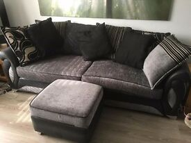 DFS Helix large 3 seater settee & foot storage stool Black & Grey
