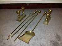 LARGE BRASS COLOURED POKER SET AND FIRE DOGS