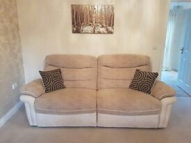 DFS Apollo Large Beige/Cream Fabric/Faux Leather 3 Seater Recliner Sofa+Cushions