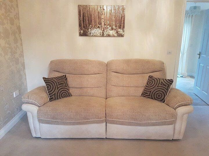 Dfs Apollo Large Beige Cream Fabric Faux Leather 3 Seater