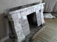 Tiled fireplace surround and hearth