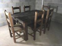 SOLID OAK TABLE 6X CHAIRS (Jacobean Dark Oak)