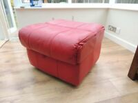Red Leather Pouffee / Foot Stool / Extra seat with storage
