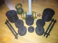 V-fit Weight Bench, Bars and Weights
