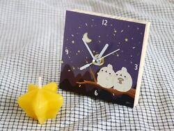 Molang Wooden Table Desk Clock Home Decor interior Cute Kawaii Gift - Moonlight